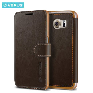 Verus Dandy Leather-Style Samsung Galaxy S6 Wallet Case - Brown