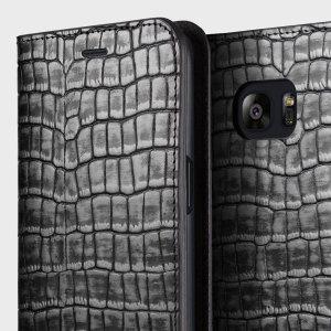 VRS Design Croco Samsung Galaxy S7 Diary Case - Silver / Grey