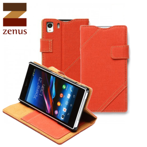 Zenus Cambridge Diary Stand Case for Sony  Xperia Z1 - Orange