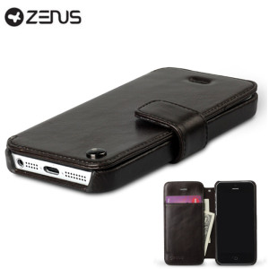 Zenus Estime Diary Leather Case for iPhone 5S / 5 - Black Chocolate