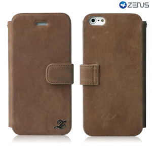 Zenus Prestige Genuine Leather Vintage Diary iPhone 5S / 5 - Brown