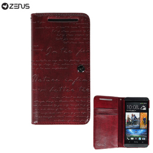 Zenus Prestige HTC One Lettering Diary Series - Wine Red