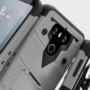 Zizo Bolt Series LG G6 Tough Case & Belt Clip - Silver