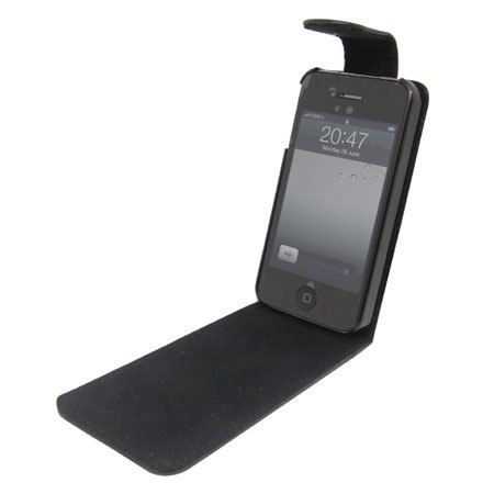 df2b5a01d00 Funda cuero con tapa para iPhone 4S / 4 - Negra