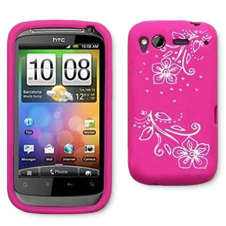 the latest 63ba3 4ec45 HTC Desire S Silicone Case - Pink Flowers