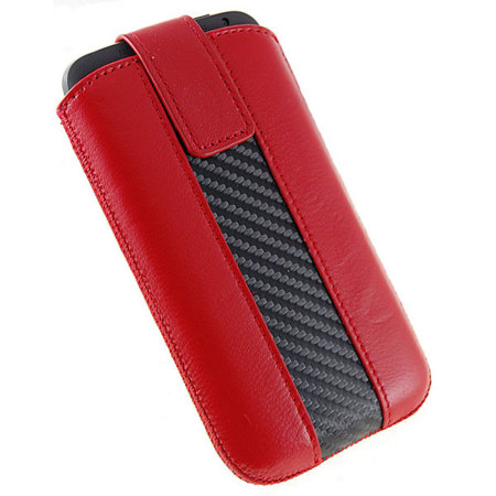 HTC One X Leather Carbon Fibre Pull Case - Red