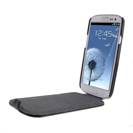 Slimline Carbon Fibre Style Flip Case for Samsung Galaxy S3 - Black