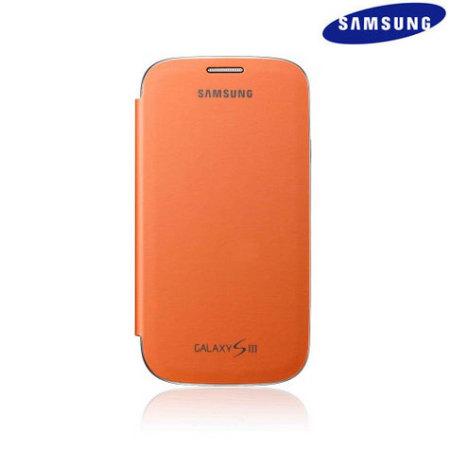 Genuine Samsung Galaxy S3 Flip Cover - Orange - EFC-1G6FOECSTD