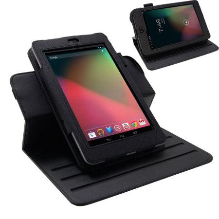 Leather Style Rotating Case for Google Nexus 7 - Black
