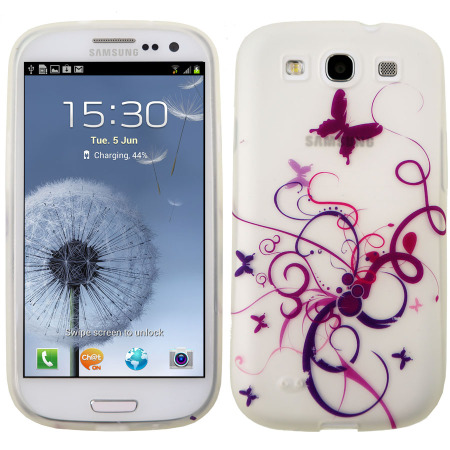 Silicone Case for Samsung Galaxy S3 - Purple Waves and Butterflies