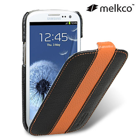 Melkco Leather Flip Case for Samsung Galaxy S3 - Orange / Black