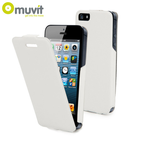 Muvit Ultra Thin Flip Case for iPhone 5S / 5 - White