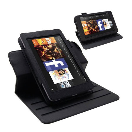 Slimline Rotating Leather Style Stand Case - Kindle Fire HD 2012