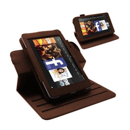 Slimline Rotating Stand Case for Kindle Fire HD 2012 - Brown