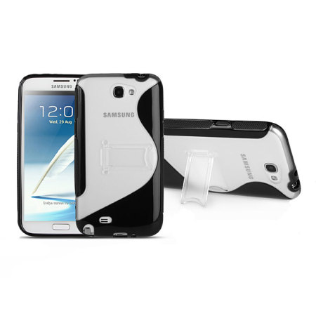 FlexiShield Wave Stand Case For Samsung Galaxy Note 2 - Clear / Black