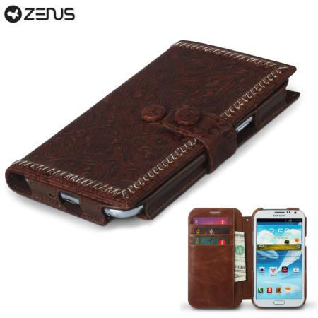 Housse Samsung Galaxy Note 2 Zenus Italian Carved Diary - Marron