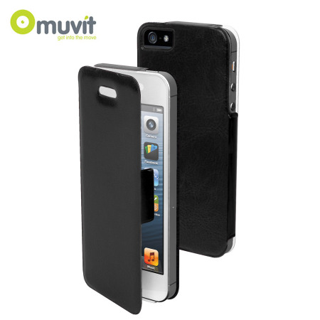 meet 210c2 5aedb Muvit Ultra Thin Diary Flip Case for iPhone 5S / 5 - Black