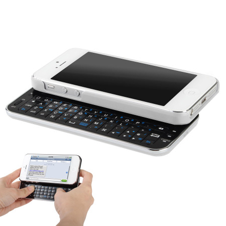 Ultra-Thin Wireless Sliding Keyboard Case for iPhone 5 - White