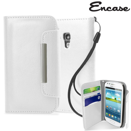 Leather Style Wallet Case for Samsung Galaxy S3 Mini - White