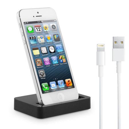iphone 5s 5 ladestation mit ladekabel in schwarz. Black Bedroom Furniture Sets. Home Design Ideas