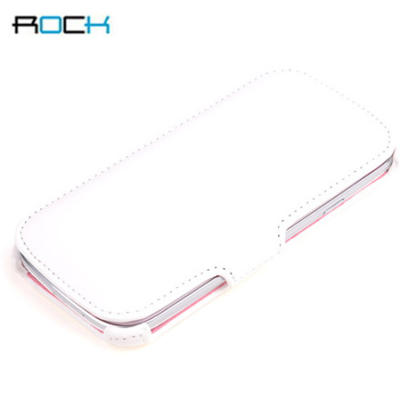 Rock Leather Style Flip and Stand Case for Samsung Galaxy S3 - White