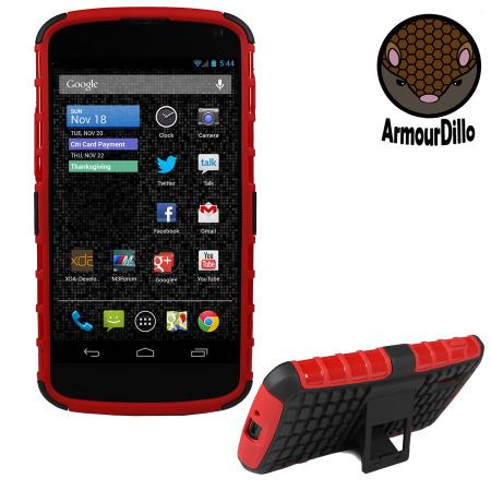 ArmourDillo Hybrid Protective Case for Google Nexus 4 - Red