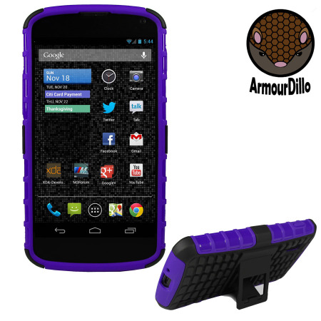 ArmourDillo Hybrid Protective Case for Google Nexus 4 - Purple