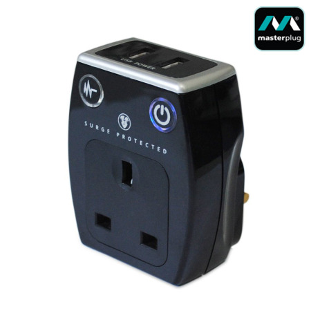 Masterplug Surge Protected 1A USB and Mains Charger - Black