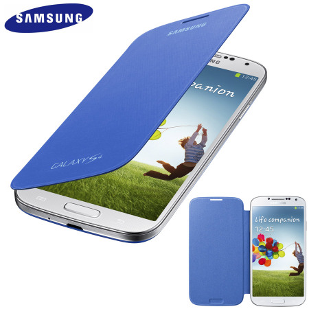 Genuine Samsung Galaxy S4 Flip Case Cover - Light Blue