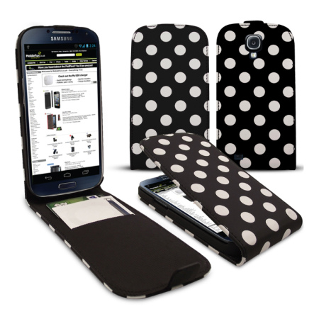 Polka Dots Flip Case For Samsung Galaxy S4 - Black