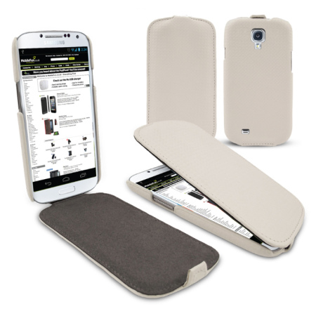 Slimline Carbon Fibre Style Flip Case for Samsung Galaxy S4 - White