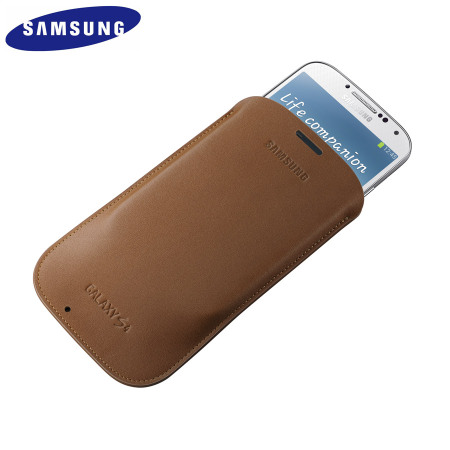 Genuine Samsung Galaxy S4 Leather Pouch - Camel