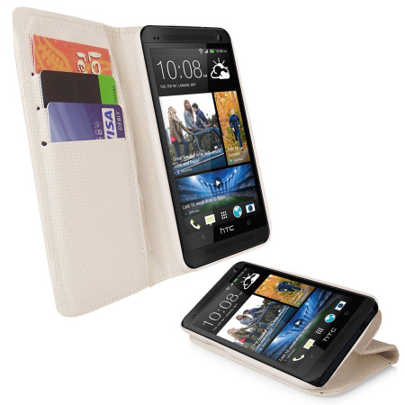 HTC One 2013 Leather Style Stand / Wallet Case - White