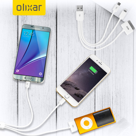 Olixar 4-in-1 Charge and Sync Cable (Apple, Micro USB) - White