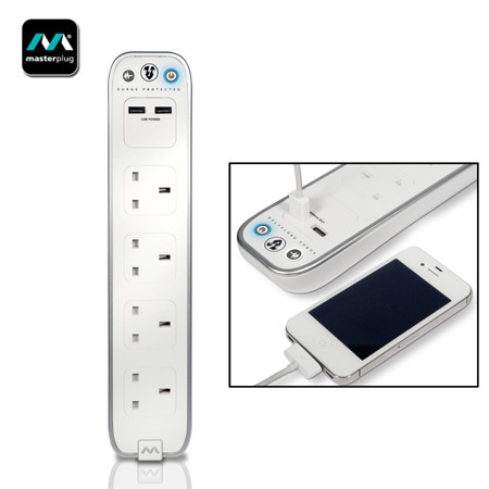 Masterplug Surge Protected 4 Plug Power Bar with Dual USB - White