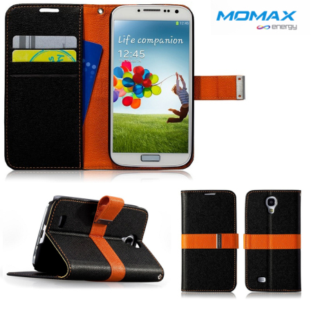 Momax Samsung Galaxy S4 Flip Diary Case - Black / Orange