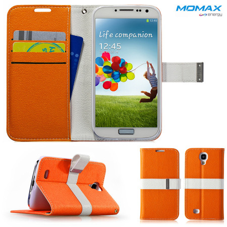 Momax Flip Diary Case for Samsung Galaxy S4 - Orange / White