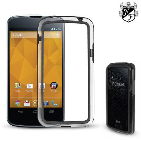 FlexiFrame Google Nexus 4 Bumper Case - Clear / Black
