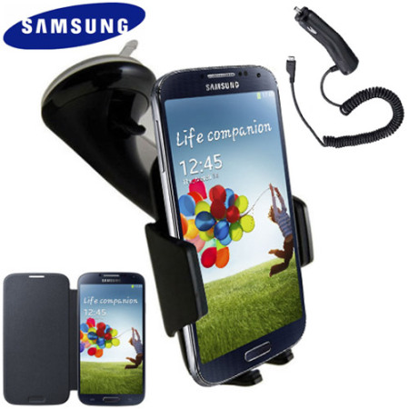 Genuine Samsung Galaxy S4 Case, Car Holder and Charger Pack - Black