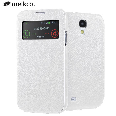 Melkco Leather Face Cover Case for Samsung Galaxy S4 - White