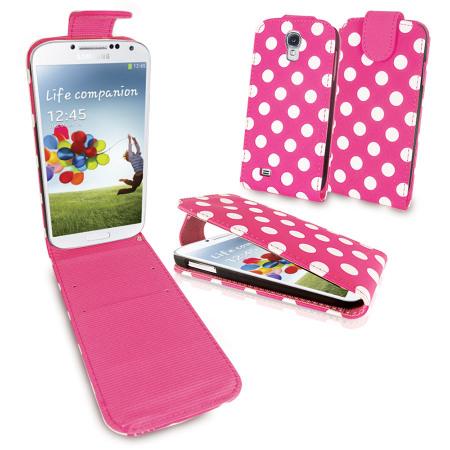 Polka Dots Flip Case for Samsung Galaxy S4 - Pink