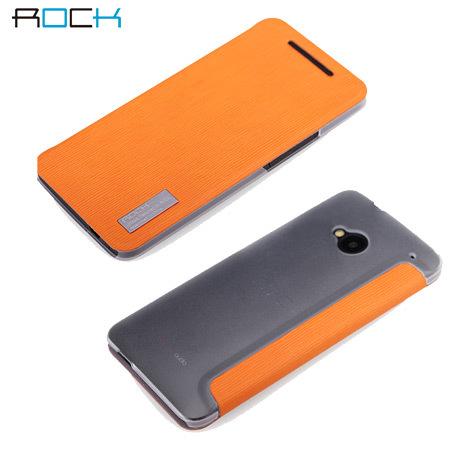 online retailer fc527 5efa0 Rock Elegant Side Flip Case For HTC One M7 - Orange