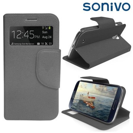 Sonivo Sneak Peek Flip Case for Samsung Galaxy S4 - Grey