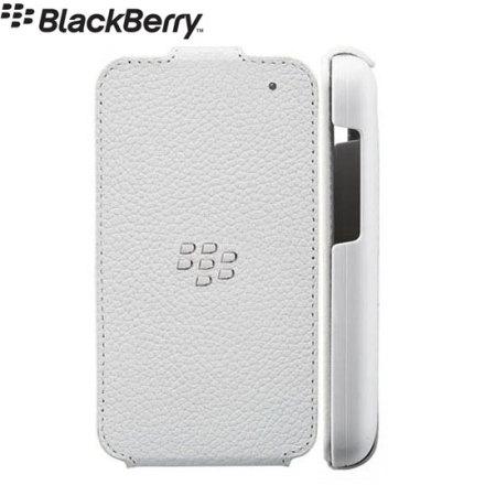 100% authentic 8da71 e30de BlackBerry Q5 Flip Shell Leather- White ACC-54689-202