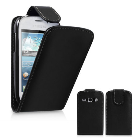 Leather Style Flip Case for Samsung Galaxy Fame- Black
