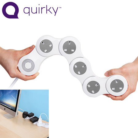 Quirky Pivot Power Flexible 5 Plug Power Adapter - White