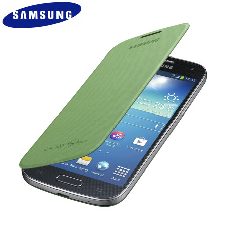 Official Samsung Galaxy S4 Mini Flip Case Cover - Lime Green
