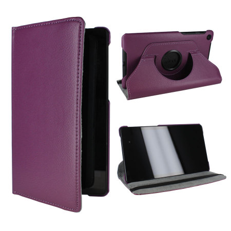 Rotating Leather Case for Google Nexus 7 2013 - Purple