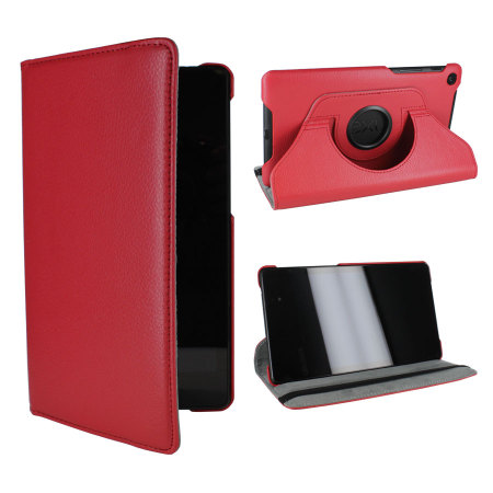 Rotating Leather Case For Google Nexus 7 2013 - Red