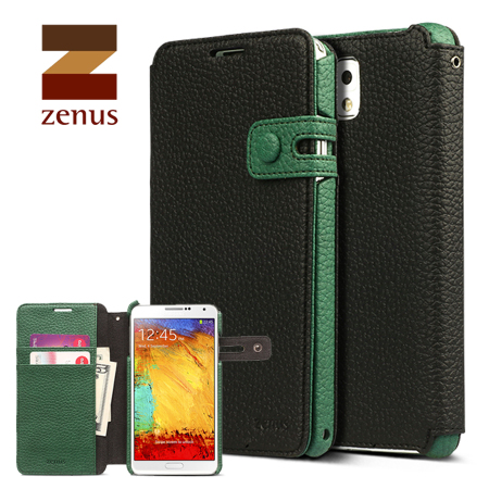 Zenus Masstige Color Edge Diary Case for Galaxy Note 3 - Black / Green